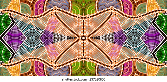 A illustration based on aboriginal style of dot painting depicting departure