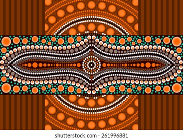 An illustration based on aboriginal style of dot painting depicting dots and strips