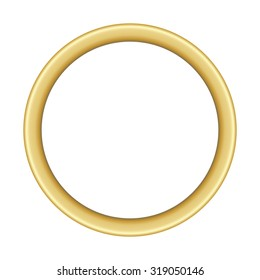 illustration of a basic round golden frame with room for text on white background, vector image, eps 10