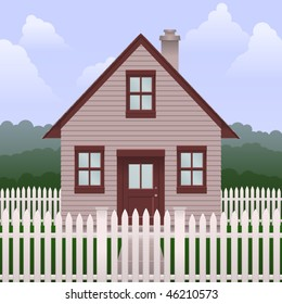 Illustration of a basic small house and yard