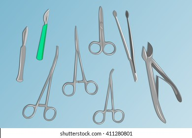 illustration of basic surgical instruments