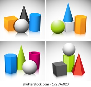 Illustration of basic three dimensional shapes.
