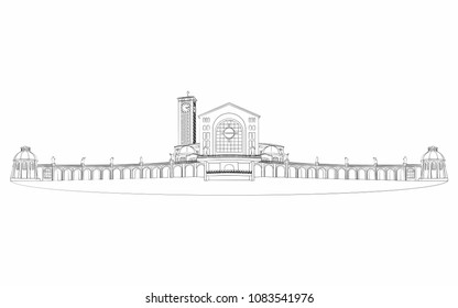 Illustration of the basilica of Aparecida different outline like a brushstrokes.