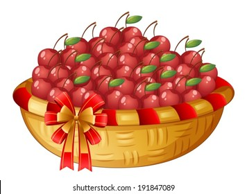 Illustration of a basket of cherries on a white background