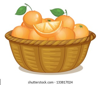 Illustration of a basket full of oranges on a white background