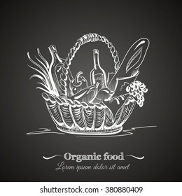 Illustration of basket with organic food  made in line hand drawn vector style. Template for poster business card and banner