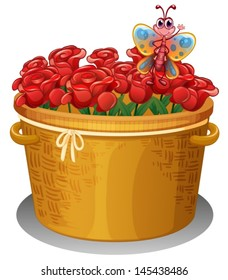 Illustration of a basket of roses with a butterfly on a white background