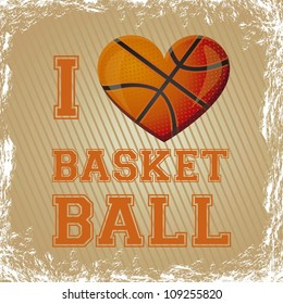 illustration of basketball heart on a background of lines, vector illustration