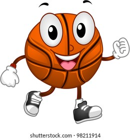 Illustration of a Basketball Mascot Walking