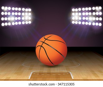 An illustration of a basketball on a hardwood court with a basketball hoop and lights. Vector EPS 10 available. EPS file contains transparencies and gradient mesh. EPS is layered.