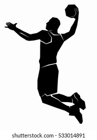 illustration of a basketball player . black and white drawing, white background