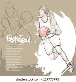 illustration of basketball player dribbling. sport background design. basketball player drawing style.