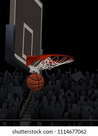 Illustration of a basketball swishing through the basketball hoop with a cheering crowd in the background.