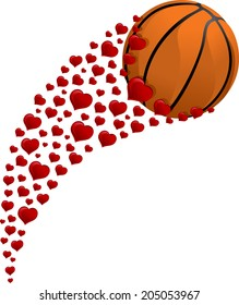 illustration of a basketball swooshing through the air with a trail of hearts.