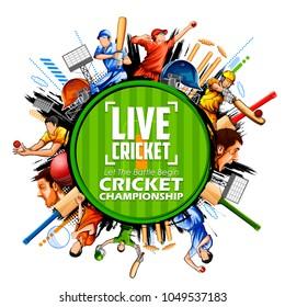 illustration of batsman and bowler playing cricket championship sports