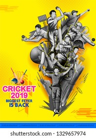 illustration of batsman and bowler playing cricket championship sports 2019