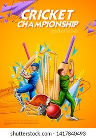 illustration of batsman and bowler playing cricket championship sports 2019