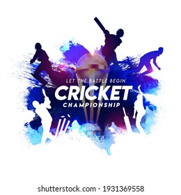 Illustration of batsman and bowler playing cricket championship sports with trophy on blue abstract paint stroke background