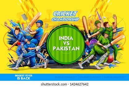 illustration of batsman player playing cricket championship sports 2019