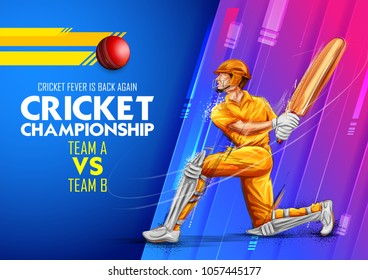 illustration of batsman playing cricket championship sports