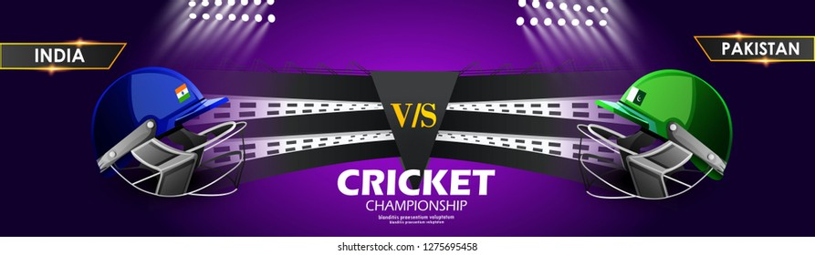 illustration of batsman playing cricket championship, Cricket stadium background