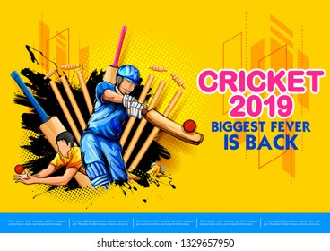 illustration of batsman playing cricket championship sports 2019