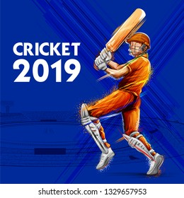 illustration of batsman playing cricket championship sports 2019