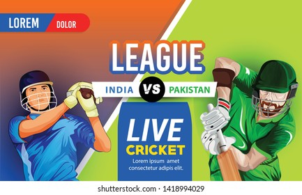 illustration of batsman playing cricket. india vs Pakistan championship sports