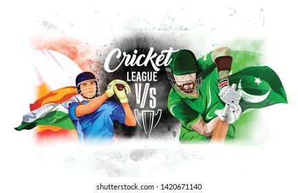 illustration of batsman playing cricket. india vs Pakistan world cup