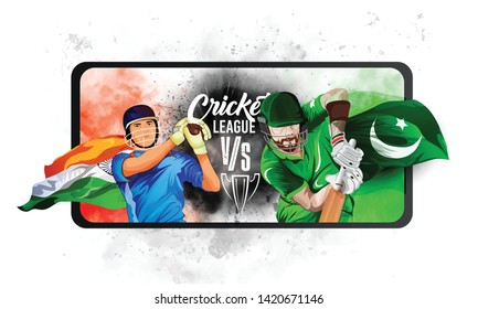 illustration of batsman playing cricket. india vs Pakistan world cup