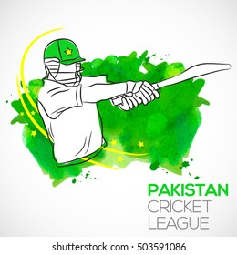illustration of batsman playing pull shot in pakistan cricket league