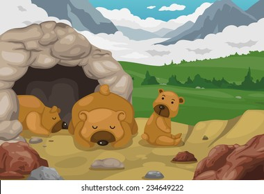 illustration of bear on mountains landscape background vector