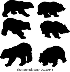 illustration with bear silhouettes isolated on white background