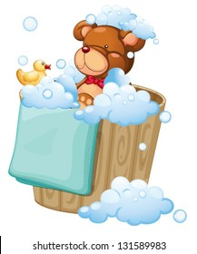 Illustration of a bear taking a bath on a white background