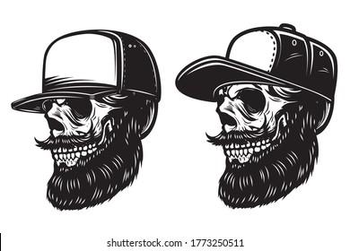 Illustration of bearded skull in baseball cap in engraving style. Design element for logo, emblem, sign, poster, card, banner. Vector illustration