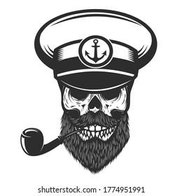 Illustration of bearded skull of sea captain. Design element for logo, emblem, sign, poster, card, banner. Vector illustration