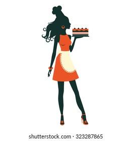 An illustration of a beautiful baker holding freshly baked cake