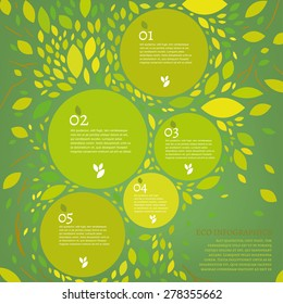 The illustration of beautiful bio infographics with leaves and tree. Ecology and biology concept. Vector image. Ideal as a brochure and leaflet design template.
