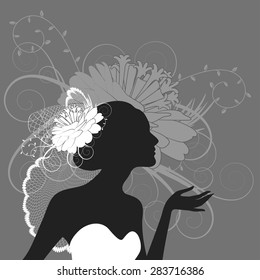Illustration of a beautiful bride on a grey