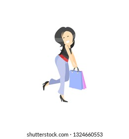 illustration of a beautiful cartoon girl with shopping bags