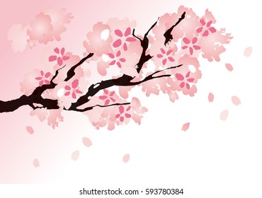 фотообои Illustration of a beautiful cherry branch