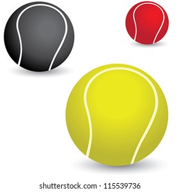 Illustration of beautiful colorful tennis balls in yellow, black and red colors.
