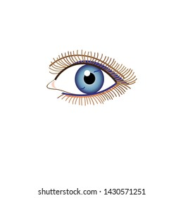 Illustration of a beautiful eye sign vector isolated on white background. Design sample for business card, postcard or poster.