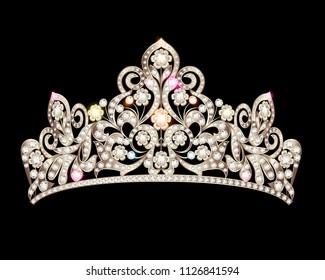 Illustration of beautiful female diadem with precious stones