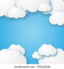 Illustration of a beautiful fluffy empty clouds on a blue background vector