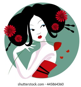 illustration of a beautiful geisha in red dress. very gentle and passionate woman with flowers in her hair. Suitable for business cards. Japanese menu. on a white background