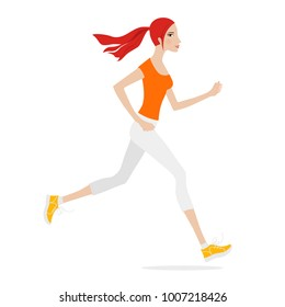 Illustration of a beautiful girl jogging on white background