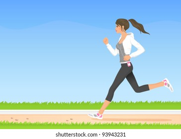illustration of a beautiful girl jogging in the park
