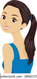 Illustration of a Beautiful Girl in a Ponytail