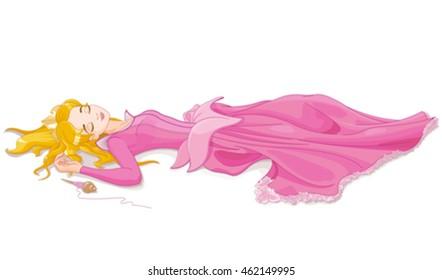 Illustration of beautiful girl sleeping